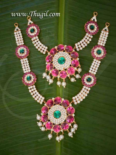 Multicolor 2 Step Necklace Haaram Jewellery Amman Alangaram Jewellery Buy Now 8