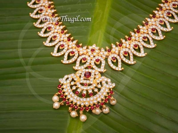 Mango Design White with Maroon Short  Necklace Hindu Idols Ornament Temple Jewellery Buy Online 5.5