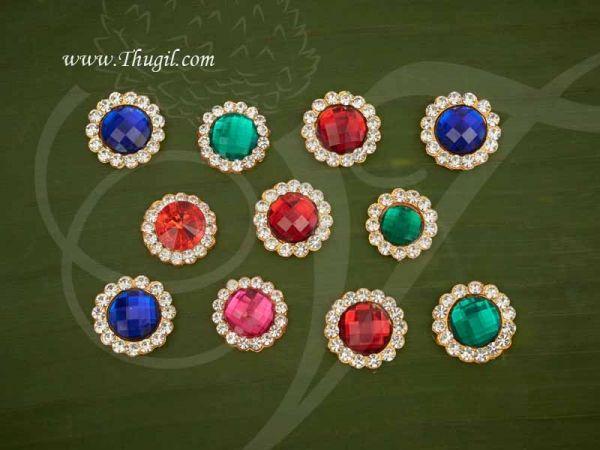 2 pcs God Bindi Pottu Jewelry Multi Color forehead Statue Hindu Diety Jewellery  2 cm