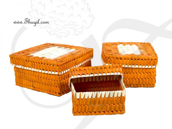 Square palm leaf gift boxes - set of three