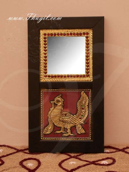 12 x 6 inches Mirror Wooden Wall Decor in Peacock Tanjore Style Gift Buy Now