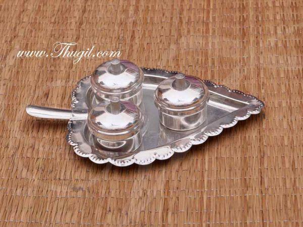Beautiful German White Metal Leaf Design Kumkum Turmeric and Sandal Holder