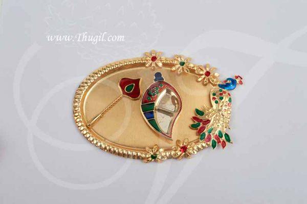 Diwali Navarathri Peacock Design Pooja Thali Metallic Finish Buy Now