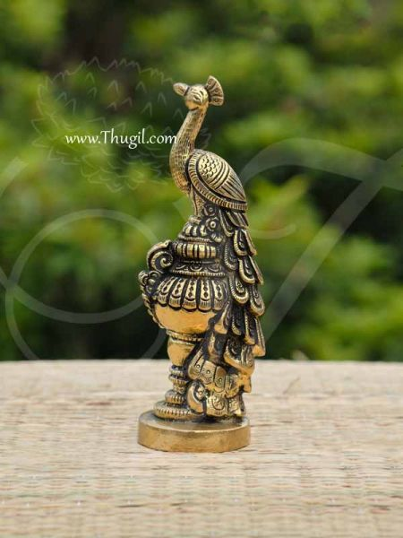 Brass Peacock Carving Stand Decoration for Lord Muruga Mor Design