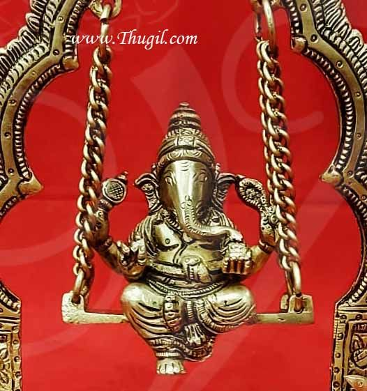 Lord Ganesh Brass Statue on swing Ganapathy Idol Buy Now