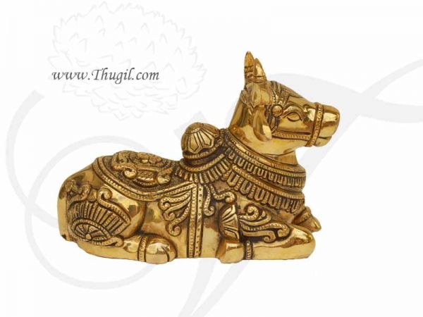 Lord Nandi Brass Statue India Bull Beautiful and Heavy Shop Online - 6 inches