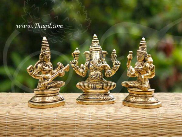 Lord Ganesha Goddesses Lakshmi Saraswati Brass Statue Idols Buy Now 3.5 Inch