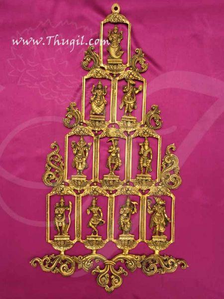Dashavatara Wall Hanging in Brass 10 Vishnu Avatars Set Buy now