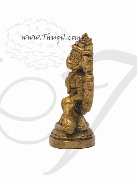 Brass Statue Five Face Lord Anjaneya Hanuman Religious Sculpture Temple Decoration 2.5