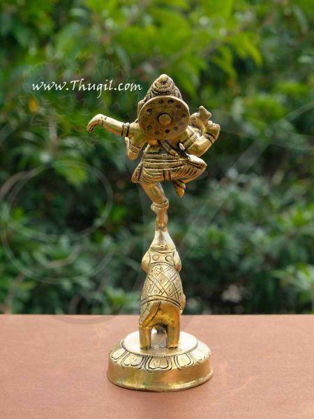 Brass Nritya Ganapati Ganesha Standing on Elephant Statue Buy Now 6.5