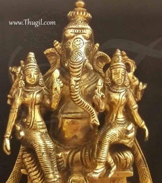Brass Shree Ganesha With Riddhi Siddhi Statues Buy Now 7