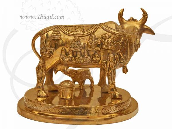 Brass Kamdhenu Cow With All God Scriptures Marked Over Cow & Calf Buy Now 7 Inch