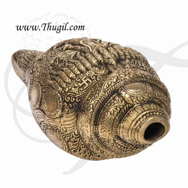 Brass Shankh Carving Visha Dasaavatharam for Pooja Wallhang Buy Now 9x5 Inches