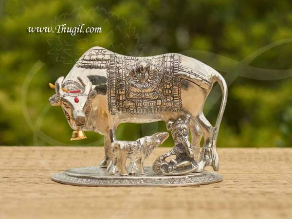 German Silver Kamadhenu Cow Statue with Calf and Little Krishna Buy Now 7
