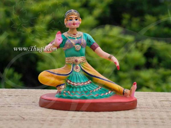 Indian Handcraft Tanjore Lady Bharatanatyam Dancing Golu Doll Tanjore bomai 9.5