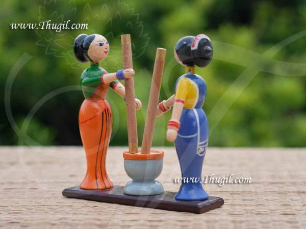 Womens Rice Pounding Traditional Golu Doll Bommai Navarathatri Buy Now 5.5 inches