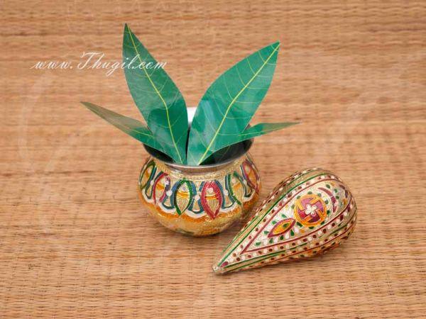 Meenakari Stainless Steel Kalasam Sombu With Decorated Coconut Buy Now