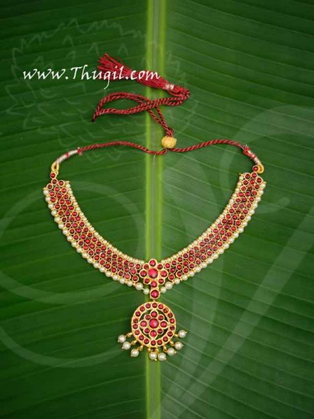 Marron Stone Pendant with Beads Short Necklace for Buy Now