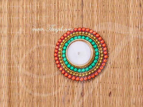 Kundan Rangoli Kolam Candle Holder India Decoration Designs Buy Now