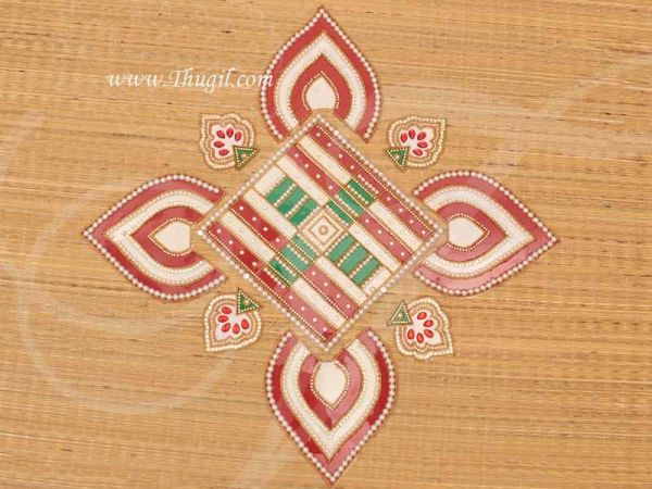 Floor Arrangeable Transparent Wedding Mat kundan Rangoli Designs Buy Online