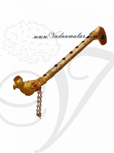 Krishna Kanna Flute Decorated With Pearls and Gold Chamki Buy Now