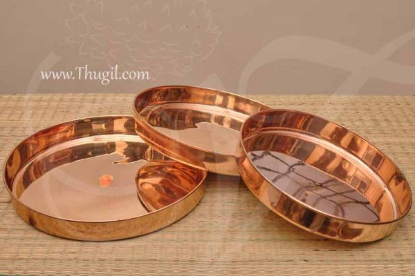 Copper Plate Multipurpose Utility / Thali / Taalam Buy Now - 3 pieces