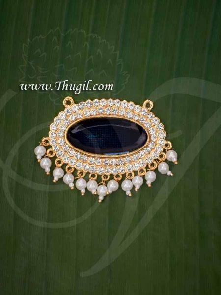 Pathakam White Stone Blue Enamel Hindu God Chest Jewellery Buy Now 1.5