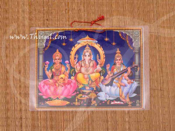 Lakshmi Saraswati Ganesha Laminated Photo Buy Online 9 inches