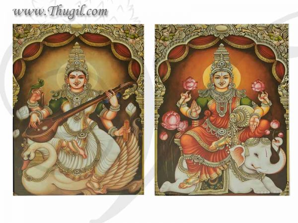 Lakshmi Saraswati Photo For Pooja and Decorations Buy Online 12 inches
