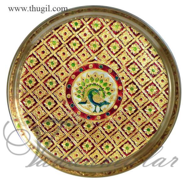 9 inches Meenakari design steel thamboolam thali plates