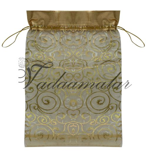 Gold marriage gift potli pouch return bag Large size