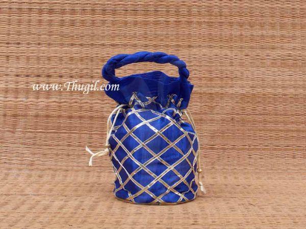 Wedding Return Gift Pouch Potli Bag Thamboolam Bags Blue Colour - 8 x 6 Buy Now