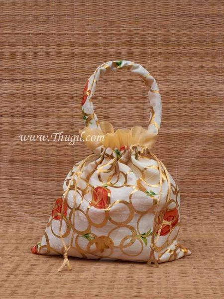 Wedding Return Gift Pouch Potli Bag Thamboolam Bags Half White Colour - 10 x 8 Buy Now