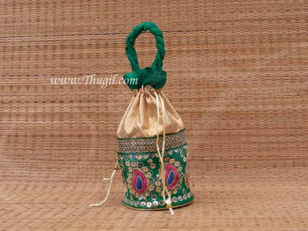 Wedding Return Embroidery Gift Pouch Potli Bag Thamboolam Bags  - 10 x 7 Buy Now