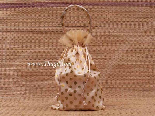 Wedding Return Gift Pouch Potli Bag Thamboolam Bags Half White Colour - 8 x 6 Buy Now