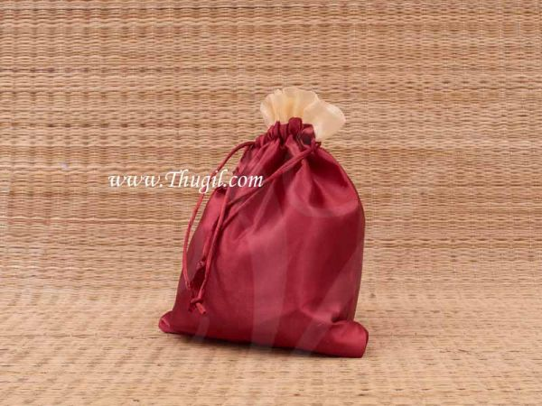 Wedding Return Gift Pouch Potli Bag Thamboolam Bags Maroon Colour - 10 x 8 Buy Now