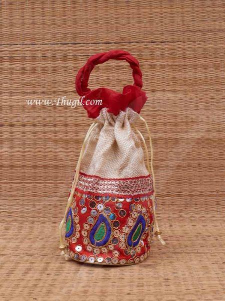 Wedding Return Gift Jute with Embroidery Pouch Potli Bag Thamboolam Bags - 10 x 7 Buy Now