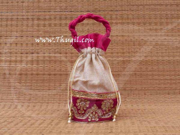 Wedding Return Gift Jute with Embroidery Pouch Potli Thamboolam Bags - 10 x 7 Buy Now