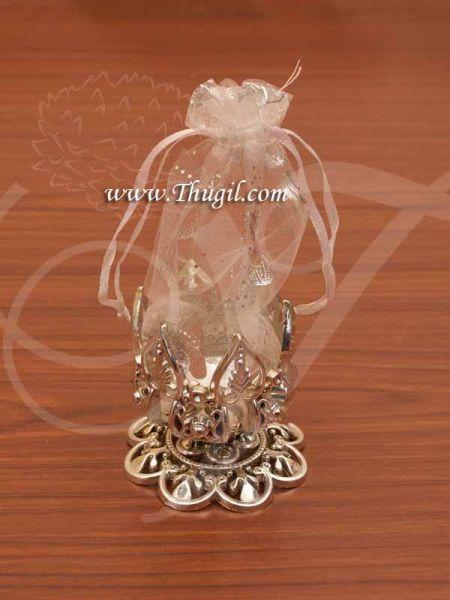 Silver Color Plastic Lotus Design Decorative Gift Pouch Buy Now 2.5
