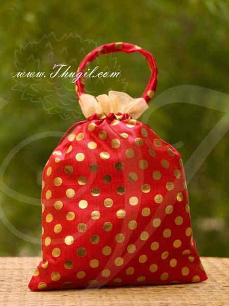Red Colour Potli Bag with wide golden lace Wedding Return Gift Buy Now 12 x 9