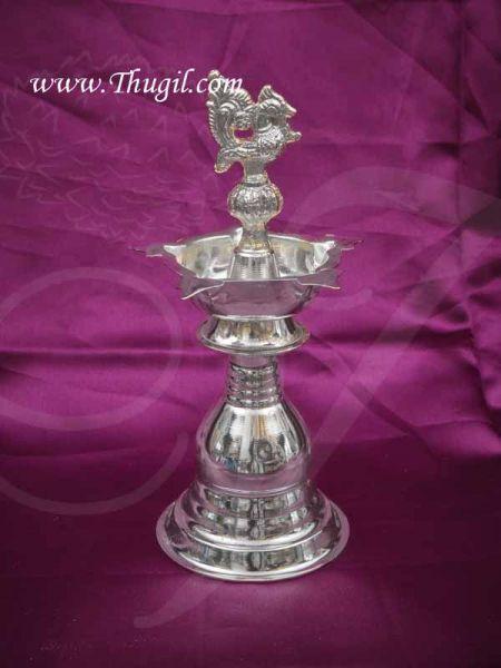 German Silver Peacock Diya Vilakku Deepam Diya Buy Now- 7.5