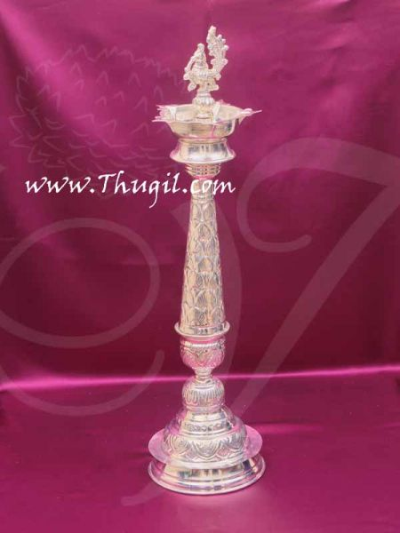 Mayil Vilakku German Silver Peacock Lamp Diya Buy online 16 inches