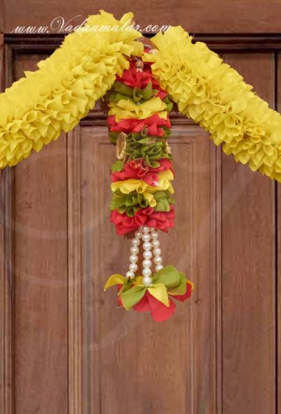 Yellow Samanthi Flower Doorway Thoran Thoranam decorative fabric Buy now
