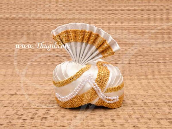 White Gold Color Turban Crown with gold trim, Bollywood, weddings Buy Now