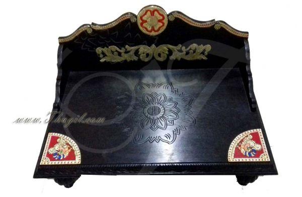 Teak wood Peetam Manai Stand Gold Tanjore Designs